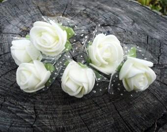 Rose hair pins, Wedding bridal hair accessories, Bridesmaid flower girl hair pin, Bobby pins, Hair clips, Bride hair favor, Ivory flower
