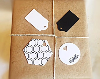 Mini Black and White Love Set of 12 Gift tags, Wedding tags, Wine Tags Set of 12