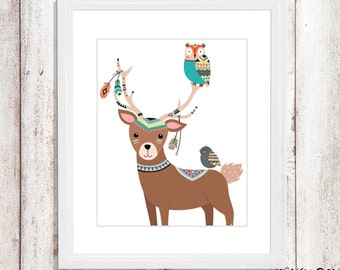 Deer wall art - Deer nursery art - kids wall art - Nursery Decor - tribal deer - tribal nursery art - tribal wall decor - tribal owl art