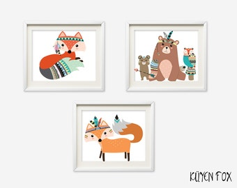 Woodland wall art - woodland nursery art - kids wall art - Nursery Decor - tribal fox - tribal nursery art -  tribal animals art