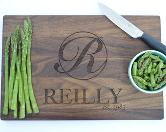 Kitchen Decoration Personalized /Anniversary Gift /Engraved Cutting Board /Kitchen Decor /Custom Engraved Monogram /Family Name Gift