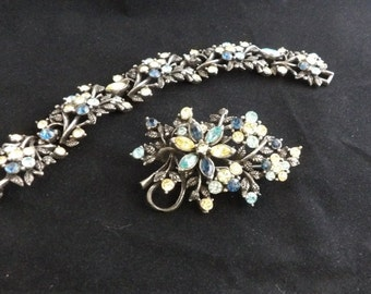 Rhinestone brooch and bracelet