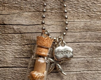 Message in a Bottle Necklace | Beach | Ocean | Starfish | Charm Necklace | Shell Necklace