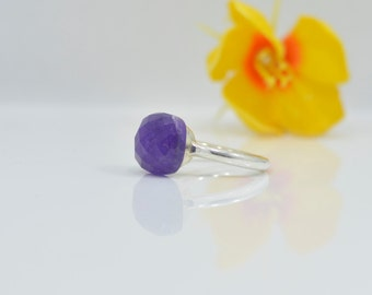 Amethyst Ring - Stackable Ring - Amethyst Silver Ring - Birthstone Ring - Gemstone Ring - Stack Ring - Silver Amethyst Rings - Stacking Ring
