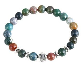 Natural Stone bead bracelet, men shell bead bracelets, bloodstone bracelets, shell stone bead bracelet, Gift for men, men's gift