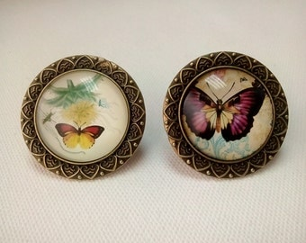 2 precious rings Victorian vintage images of butterflies.