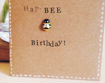 Hap-Bee Birthday hand stamped bee birthday card.