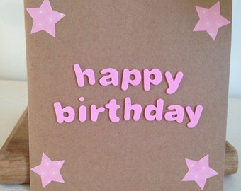 Happy Birthday pink stars and letters card