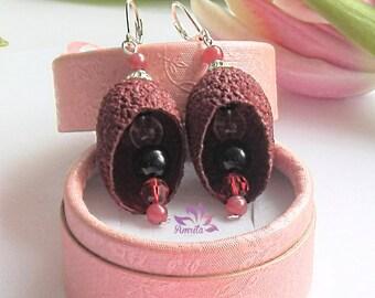 Extraodinary Dangle Dark Red Genuine Silkworm Cocoons and Gemstones Earrings, Agate Earrings, Silkworm Cocoons Earrings, Gemstones Earrings