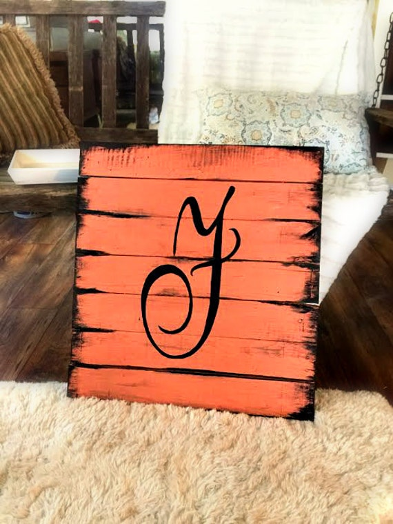 Refurbished Wood Wall Decor : Wooden pallet initial decor sign inches by