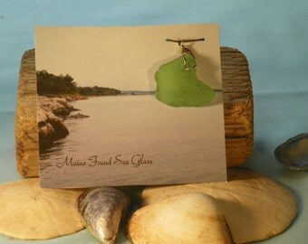 Maine Found Sea Glass- Hand-Wrapped Authentic Green Sea Glass Pendant