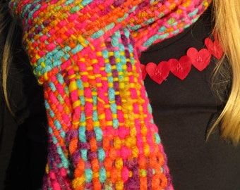 Neon hand woven scarf