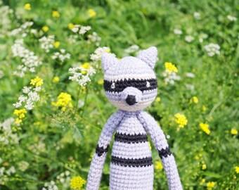 Crochet Raccoon amigurumi toy, stuffed toy, plush Raccoon toy, stuffed animal, crochet amigurumi plushie