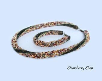 "Bead Crochet Necklace and Bracelet set ""Scattered Deads"""