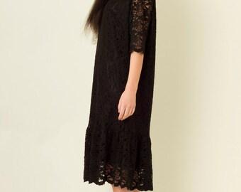 Midi Length Drop Waist Lace Dress in Black
