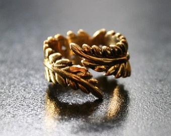 LEAF Brass Ring  - Gypsy Ring, Tribal Ring, Boho Brass Ring, Psy, Bohemian Ring, Sacred Geometry, Psytrance, Hippy Ring - Size S T U