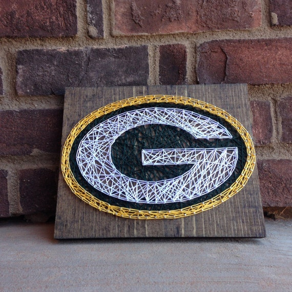 Green Bay Packers String Art Stained Wood Sign Home By