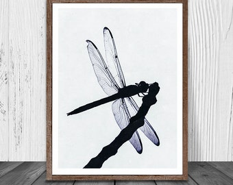 Dragonfly Print, Dragonfly Painting, Art Modern, Animal Print, Animal Printable, Animal Decor, Silhouette, Wall Art, Gift, Instant Download