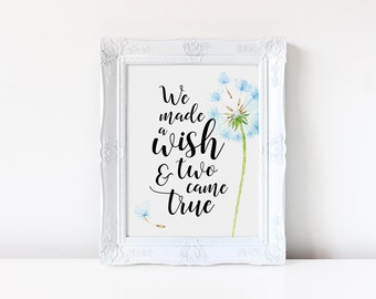 Nursery Decor, We Made a Wish and You Came True, Nursery Wall Art, Nursery Quotes, Kids Wall Decor, Wish Print, Dandelion, Baby Room Print
