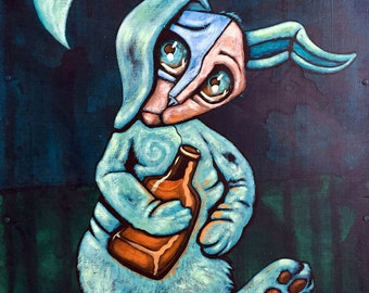 "Moon Rabbit - Drunken Rabbit Print - Oversized - 15""x8.5"" - Modern Wall Art - Jonathan Thunder"