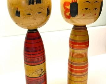 Unique Kokeshi Dolls Signed Pair - Artists Signature - Authentic Vintage Japanese