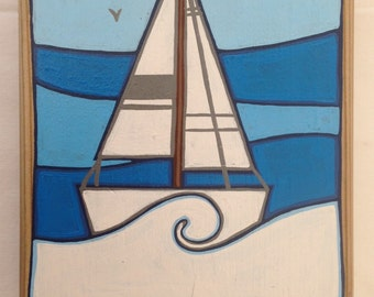 Hand painted boat on timber off-cut with added key hook