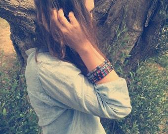 Tribal bangle set, ethnic bangle, aztec bangle, skinny bangle set, fabric bracelet, aztec bracelet, bohemian bracelet, boho bracelet, hippie