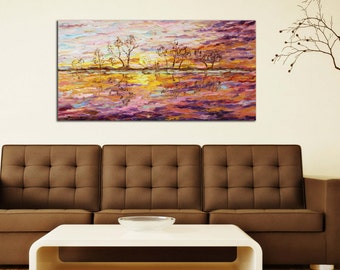 Original oil painting on canvas. Sunset.