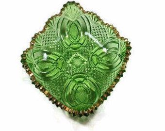 Green Glass Candy Dish Vintage EAPG Style Cut Glass Look with Gold Edge Candy Bowl
