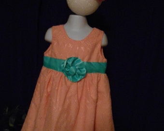 Peach eyelet, lined dress.