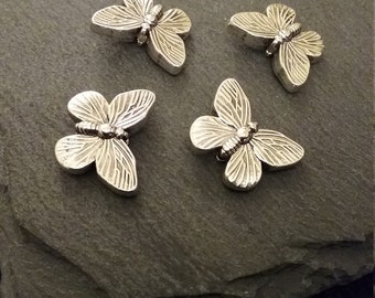 4 Pretty Antique Silver Butterfly Spacer Beads 18x14mm