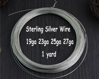 1 Yard of Sterling Silver Wire,19 23 25 27 Gauge,Sterling Silver Round Half Hard Wire
