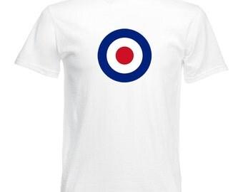 T-Shirt with Bullseye Mod Target print 60's Retro