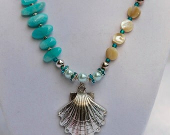 TerisArt ONE OF A KIND Swarovsky Crystal Seashell Necklace and Earrings