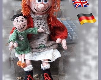 Crochet pattern poor Anna, Amigurumi doll crochet pattern, crocheted dolls pattern, amigurumi PDF pattern, Instant download