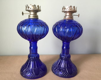 Cobalt Blue Pressed Glass Oil Lamps