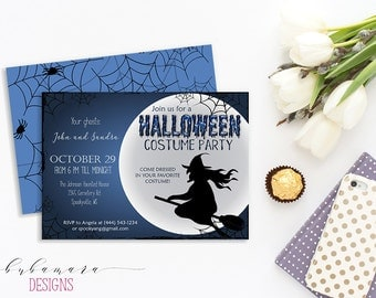 Printable Halloween Invitation Witch on Broom Halloween Party Invite Spider Webs Spooky Moon Blue Holiday Costume Party Card - HI015