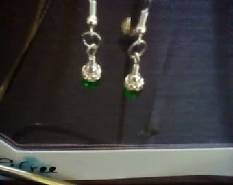Green & Silver-tone Dangle Earrings
