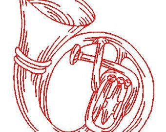 Redwork Musical Instruments  ( 35 Machine Embroidery Designs from ATW )