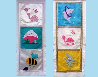 Baby's Christening or Naming gift. Cute Kid's Applique wall-hanging - 3 images. Family Heirloom or decor.