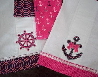 Fully Lined Baby Girl Nautical Burp Cloth Set 2