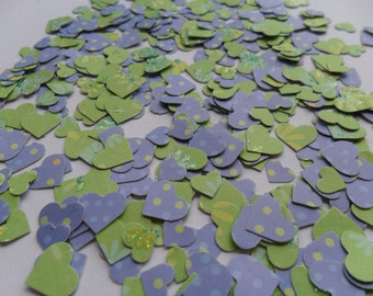 lilac and apple green heart table confetti