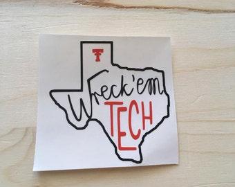 Texas Tech Wreck'em Tech Decal