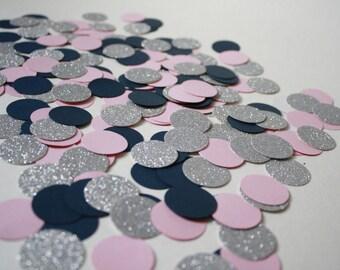 Navy, Pink, & Silver Confetti- 225 Pieces