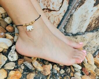 Elephant anklet, cute anklet, bohemian anklet, beach anklet