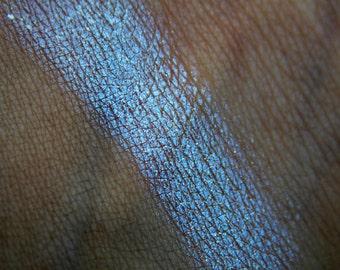 DISILLUSIONED ~ blue duochrome highlighter makeup, vegan makeup, blue purple color shifting mermaid makeup, cruelty free natural makeup