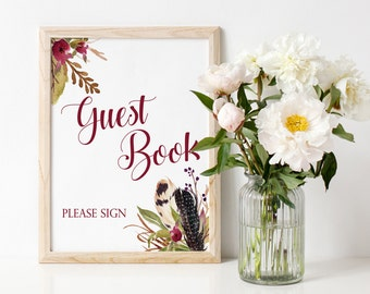 Guestbook Sign, Please Sign Our Guest Book Sign, Wedding Guestbook Printable Sign, Guest book Sign, Burgundy Wedding Decorations