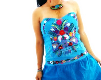 Princces Mexican Embroidered Heart Strapless Mini Dress