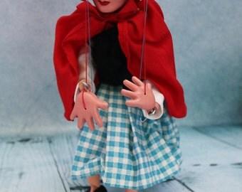 Vintage SL Pelham Puppet Little red Riding Hood dark hair