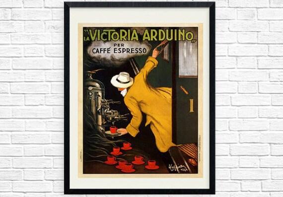 Vintage coffee poster cappiello print la victoria arduino